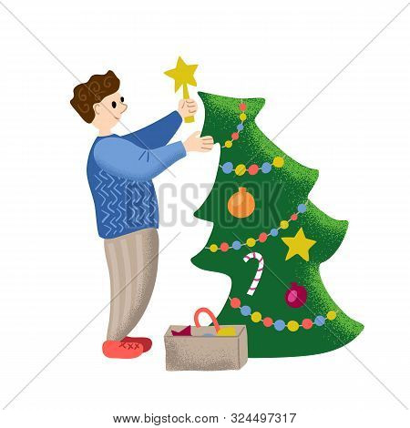Christmas Tree Decorated By Smiling Man. Christmas Or New Year Vector Illustration. Happy Person Dec