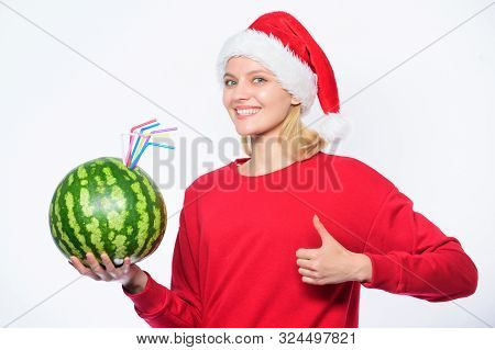 Winter vitamin fruit ration. Girl wear santa hat drink watermelon vitamin cocktail straw. Woman enjoy vitamin drink. Detox after christmas. Rich vitamin ration concept. How detox after christmas poster
