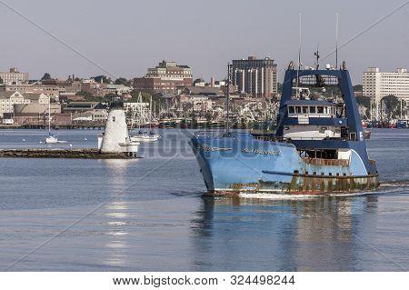 New Bedford, Massachusetts, Usa - July 26, 2019: Clammer Sea Watcher I, Hailing Port Atlantic City,