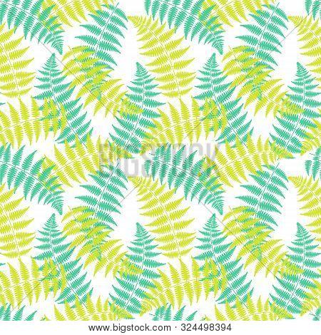Green Fern Leaf Seamless Pattern On White Background. Floral Decor For Wallpaper. Vivid Fern Leaf Ba