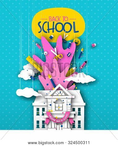 Back To School Greeting Card Illustration Of 3d Papercut Highschool Or Elementary Building With Pape