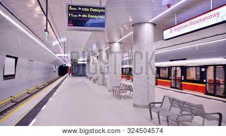 Warsaw,poland. 27 September 2019. Second Line Of Warsaw Subway System. Warsaw Metro Station Interior
