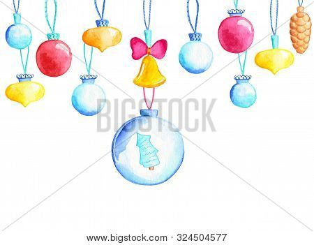 Christmas Tree Balls With Fir Tree. Firtree Ball Watercolor Illustration. Christmas Bauble Banner Te