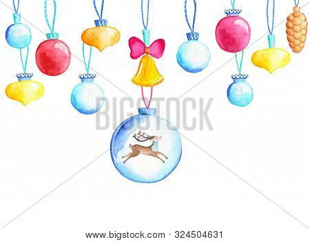 Christmas Tree Balls With Cute Deer. Firtree Ball Watercolor Illustration. Christmas Bauble Banner T