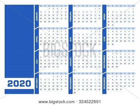 Blue 2020 German Calendar. Printable Landscape Version
