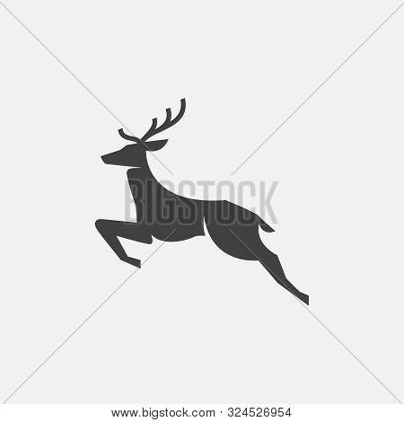 Deer Icon, Deer Illustration, Deer Vector Design Template, Rain Deer Logo