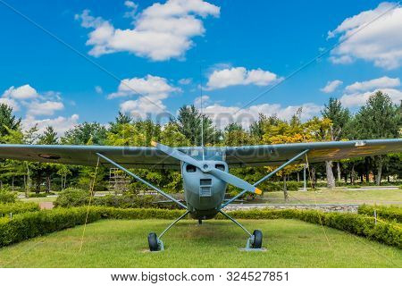 Daejeon, South Korea; September 19, 2019: Cessna 140 Tail Dragger Aircraft Used For Training On Disp