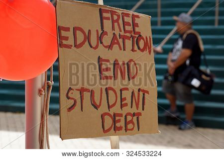 Honolulu - November 12, 2015:  Free Education End Student Debt Sign On The Campus Of The University