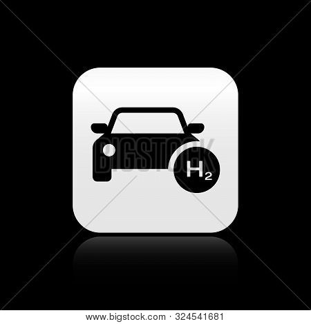 Black Hydrogen Car Icon Isolated On Black Background. H2 Station Sign. Hydrogen Fuel Cell Car Eco En
