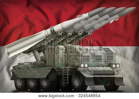 Tactical Short Range Ballistic Missile With Arctic Camouflage On The Indonesia Flag Background. 3d I