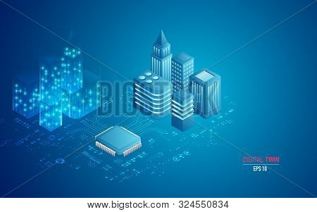 Concept Of Digital Twin Technology, Microchip And Buildings Combined With Electronic Pattern