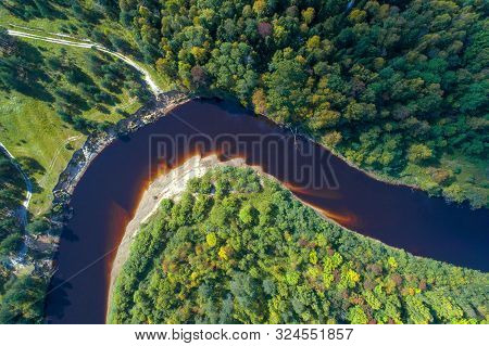 Top View From Above On A Bend Of The Mezha River On A Sunny September Day (aerial Photography). Kost
