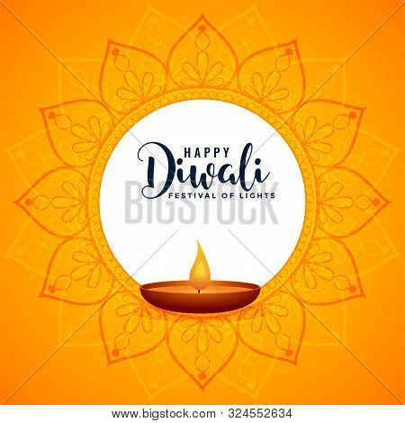 Diwali Festival Holiday Background Design With Diya