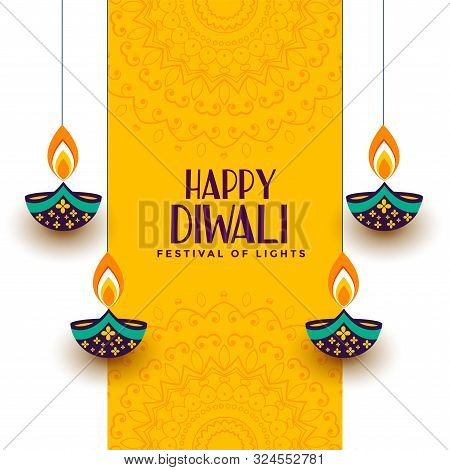 Creative Happy Diwali Festival Card With Decorative Diya