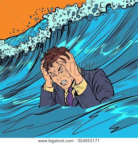 The Man Panics. Big Wave Stress. Pop Art Retro Vector Illustration Drawing