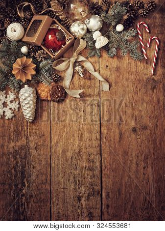 Christmas Decorations For Greetings And Gifts On A Wooden Background. New Year. Christmas Decoration