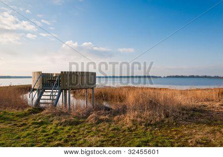Bird Observation Platform In A Dutch Nature Reserve
