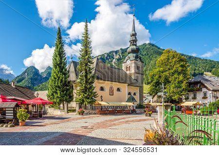 Kranjska Gora,slovenia - September 3,2019 - View At The Church Of Our Lady On The White Gravel In Kr
