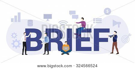 Brief Company Team Briefing Concept With Big Word Or Text And Team People With Modern Flat Style - V