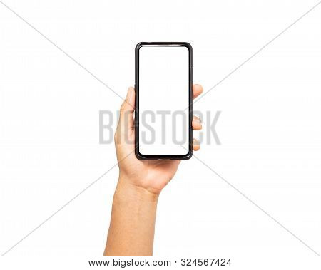Close Up Hand Hold Smartphone Isolated On White Background. Man Hand Holding Smartphone Device And T