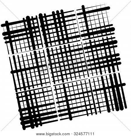 Grid, Mesh Abstract Geometric Pattern. Grating, Trellis Texture With Intermittent, Interrupt Lines.