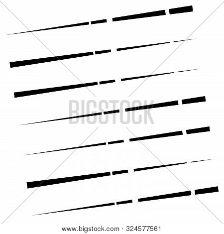 Segmented, Dashed Lines, Stripes Abstract Geometric Pattern. Irregular Straight Parallel Strips, Str