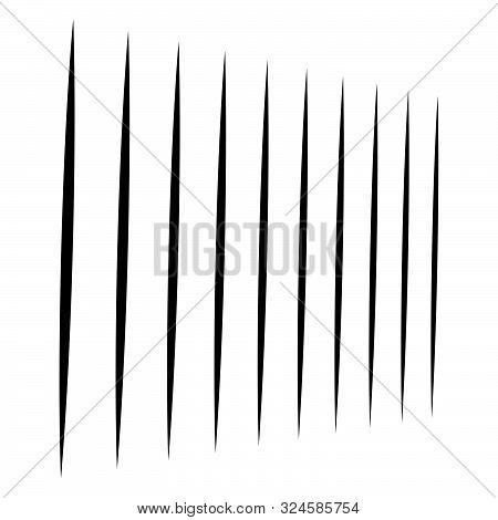 Line Half-tone Element, Lines Pattern. Vertical Straight Parallel Stripes. Streaks, Strips, Bands Ge