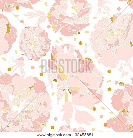 Vector White Elegant Botany Realistic Festive Peony Botanical Pattern, Peony Blossom In Dusty Pink.