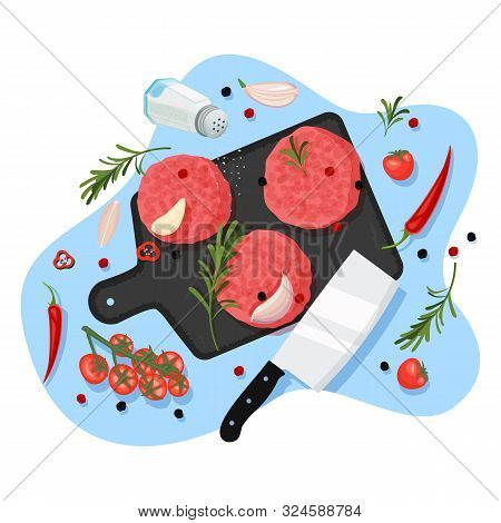 Cooking Cutlets For Burger, Vector Cartoon Top View Illustration. Black Graphite Cutting Board, Raw