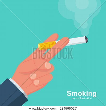 Cigarettes In Hand Man. Smoker Holds A Smoking Cigarette. Vector Illustration Flat Design. Isolated