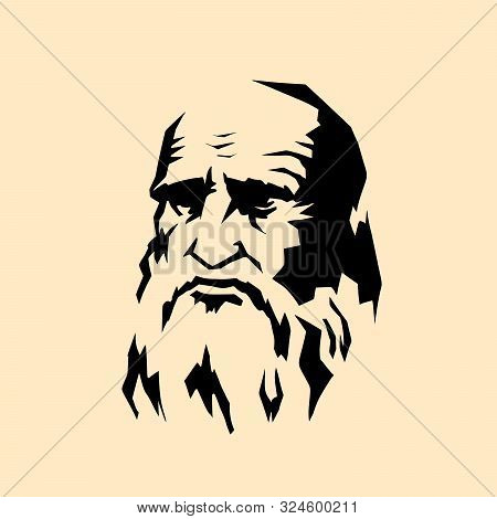 Leonardo Da Vinci Stylized Portrait. The Artist Sculptor Scientist Engineer Of The Renaissance. Comi