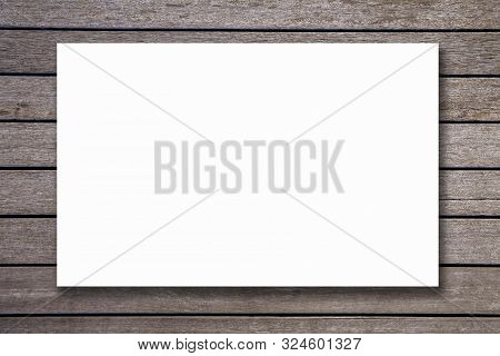 Blank Paper Texture On Vintage Brown Wood Background