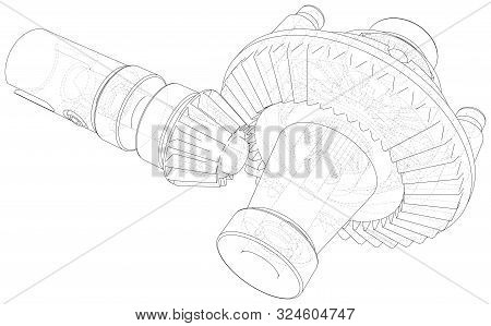 Automobile Car Gearbox With Toothed Wheels. Inside View On Gearbox Cross Section With Gears And Shaf