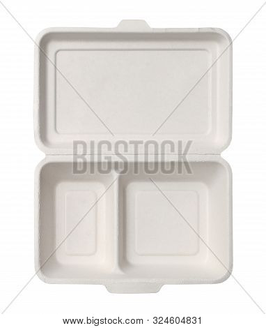 Plant Fiber Food Box Unbleached Disposable Top View (with Clipping Path) Isolated On White Backgroun