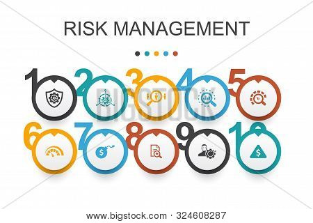 Risk Management Infographic Design Template.control, Identify, Level Of Risk, Analyze Icons