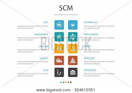 Scm Infographic 10 Option Concept. Management, Analysis, Distribution, Procurement Icons