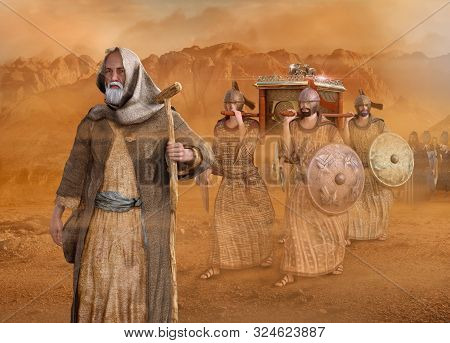 Biblical Moses Leads The Isrealites Through The Desert Sinai During The Exodus, In The Wilderness, I