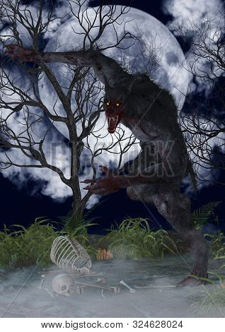 Portrait Of A Fierce And Creepy Werewolf. 3d Illustration.