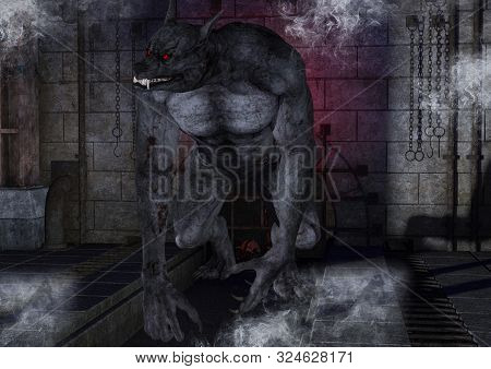 Portrait Of A Fierce And Creepy Werewolf. 3d Illustration.