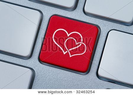 Online Love, Two Hearts Symbol At The Computer Key