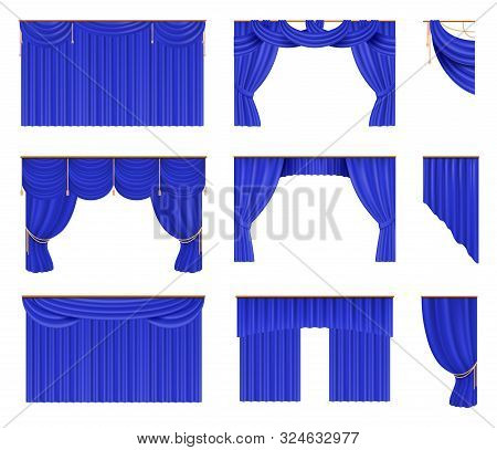 Blue Curtains Set. Realistic Cinema And Theater Stage Borders With Curtaining. Vector Illustration S