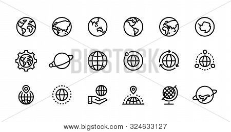 Globe Line Icons. World Sphere With Longitude And Latitude, Travel And Destination Concept. Vector W