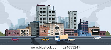 City Earthquake. Cartoon Natural Disaster Landscape With Cracks And Damages On Buildings And Ground.