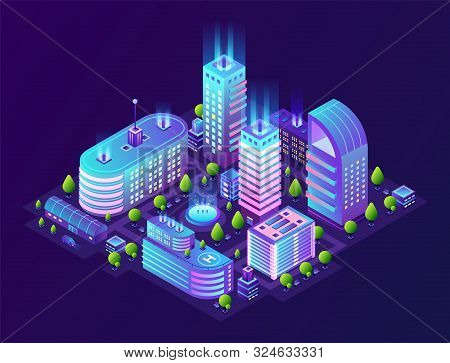 Isometric Smart City. Futuristic 3d Buildings In Neon Town, Modern Megapolis District In Gradient Co