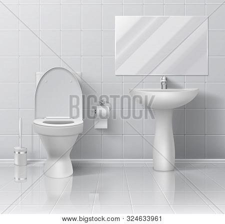 Modern 3d Bathroom Interior With White Ceramic Wall Floor Sink Toilet Paper Bowl And Brush. Vector I