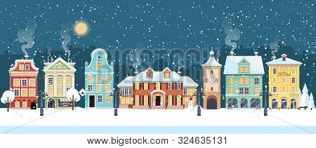 Snowy Christmas Night In Cozy Town City Panorama. Winter Village Holiday Landscape, Vector Illustrat
