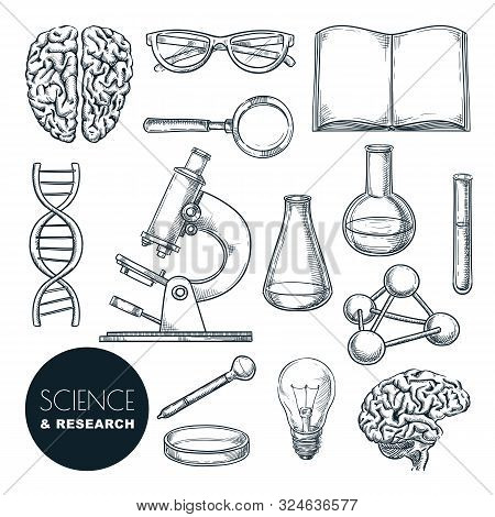 Science Lab And Chemistry Research Sketch Vector Illustration. Isolated Hand Drawn Education Icons S