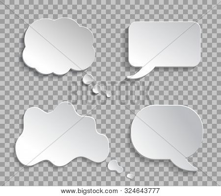 Mockup Think Ballon, Talk Bubble On Transparent Background. 3d Thought Cloud Message For Text, Infog