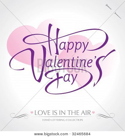 'happy valentine's day' hand lettering (vector)