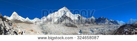 Panoramic View Of Khumbu Glacier Mount Pumori And Lhotse, Kala Patthar Near Gorak Sheep Village, Khu